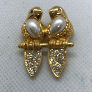 Napier Rhinestones, faux pearl Love birds brooch